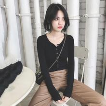 短款 女长袖 修身 新款 毛衣外套紧身黑色上衣 针织衫 秋季开衫 2018秋装
