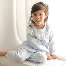 Spring and Summer Girls'Nightwear Girls' All-cotton Yarn Long-sleeve Suit Summer Baby Children's Pure Cotton Children's Home Clothing Spring and Autumn
