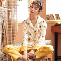 Months clothing spring and autumn cotton pregnant women pajamas postpartum maternal spring and summer thin cardigan breastfeeding breastfeeding women suit