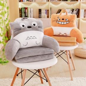 可爱动物抱枕被子两用办公室靠垫靠枕腰枕腰靠沙发汽车三合一毯子