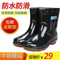 雨鞋元宝低帮水鞋短筒防水胶鞋男女防滑雨靴牛筋底水靴加新款2018