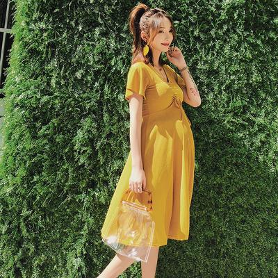 孕妇夏装连衣裙时尚款2018新款气质辣妈宽松中长款外出短袖孕妇裙