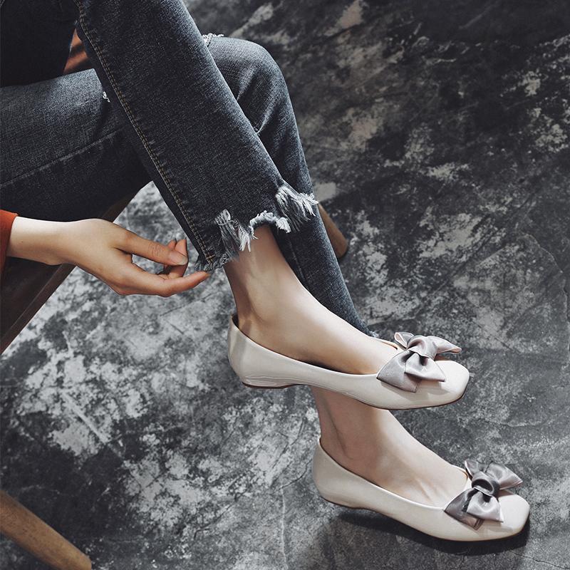 小红人浅口单鞋女2018新款平底鞋女夏社会豆豆鞋百搭蝴蝶结奶奶鞋