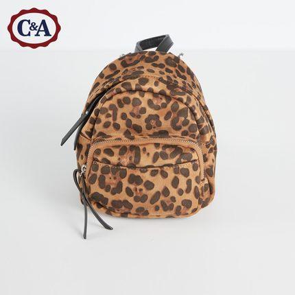 C&A时尚豹纹迷你双肩包女士 2019新款复古格子背包CA200216223
