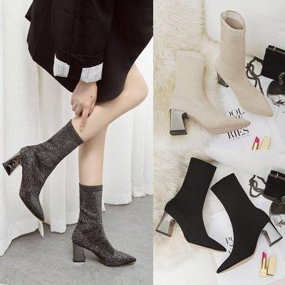 网红瘦瘦靴子女冬保暖短靴马丁靴女2018新款弹力袜靴粗跟高跟女鞋
