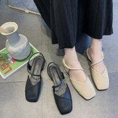 女平底2019新款 百搭女鞋 子玛丽珍粗跟单鞋 韩版 复古方头一字带凉鞋