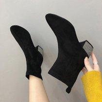 秋季短靴鞋子女2018新款女靴及踝百搭方头瘦瘦针织弹力袜子靴女鞋