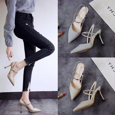 包头凉鞋女2019新款女鞋一字扣小清新高跟鞋细跟百搭猫跟水晶婚鞋