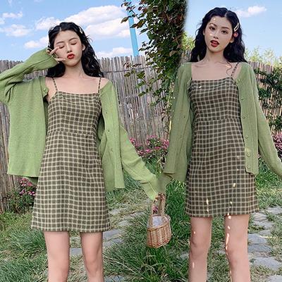 抹茶绿牛油果吊带薄荷绿连衣裙两件套奶绿色系列女装裙子套装森女
