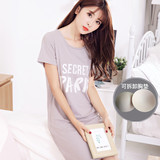 Summer Sleeping Skirt with Breast Pad Female Sleeping Skirt Thin Sweet and Lovely Princess Feng Pure Cotton Short Sleeve Long Skirt Student Dormitory Home Clothing