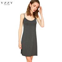 YZZY莫代尔黑色吊带裙打底裙中长款夏内搭衬裙薄大码背心连衣裙女