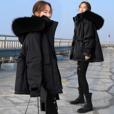 工装白鸭绒羽绒服女2018新款网红韩版黑色中长款大毛领派克服外套