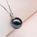 Natural mother of pearl Tahitian black pearl pendant necklace female flawless perfect circle freshwater pearl jewelry to send s925 silver chain