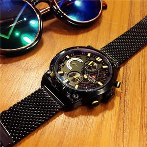 欧美时尚潮流全黑手表精钢带大表盘男表多功能防水军表正品石英表
