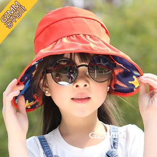 韩版儿童帽子可折叠防晒帽宝宝遮阳帽夏天女童太阳帽夏沙滩空顶帽