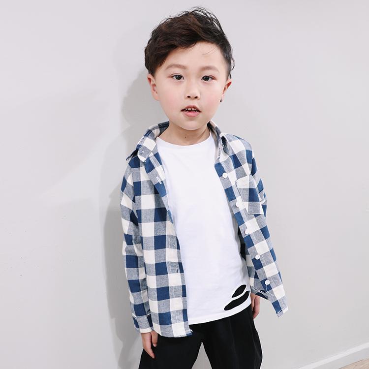 布加格春新款男女童蝙蝠袖格子衬衫儿童百搭韩版宽松薄衬衣开衫