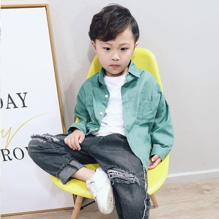 布加格儿童衬衫2019春新男童棉布衬衣韩版童装蝙蝠袖宝宝衬衣