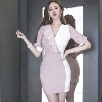 连衣裙2019新款夏性感女装V领雪纺拼接短袖修身显瘦包臀短裙夏女