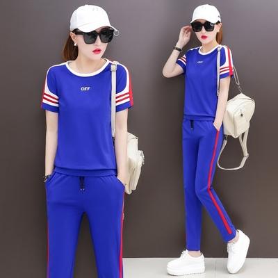 2018夏季新款韩版潮宽松大码短袖长裤休闲运动服套装女跑步两件套
