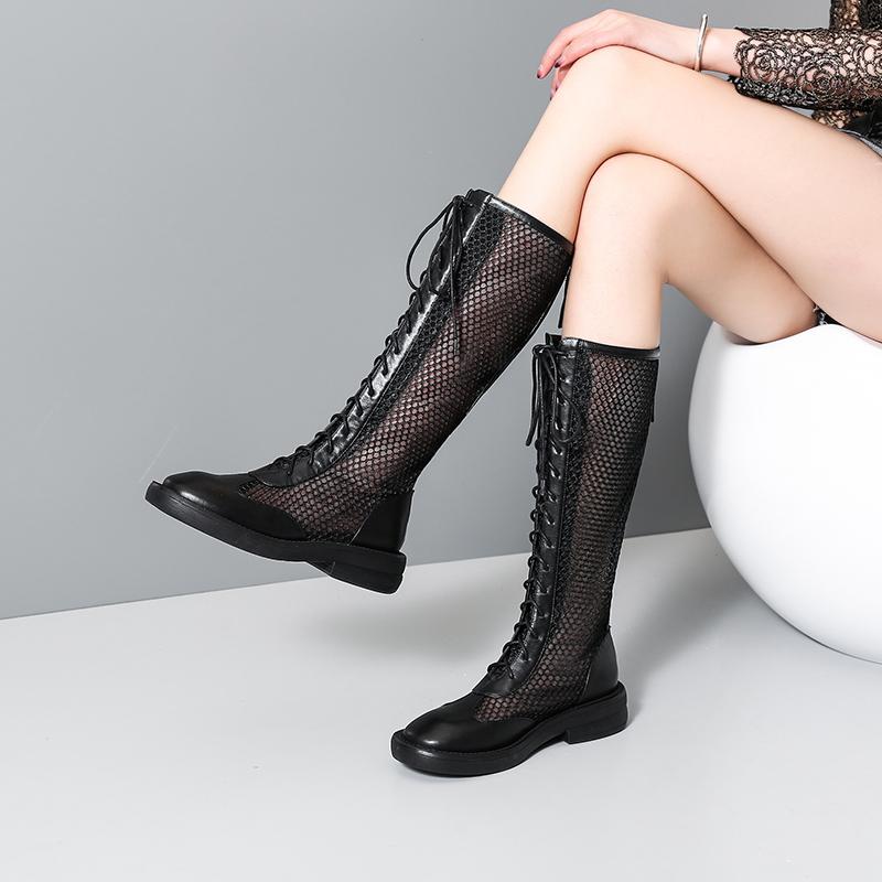 夏季靴子女镂空网靴长靴真皮高筒凉鞋网纱网面欧美蕾丝夏天洞洞靴