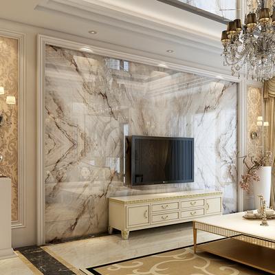 欧式瓷砖大理石背景墙 3d电视高温微晶石 现代简约石材背景墙边框
