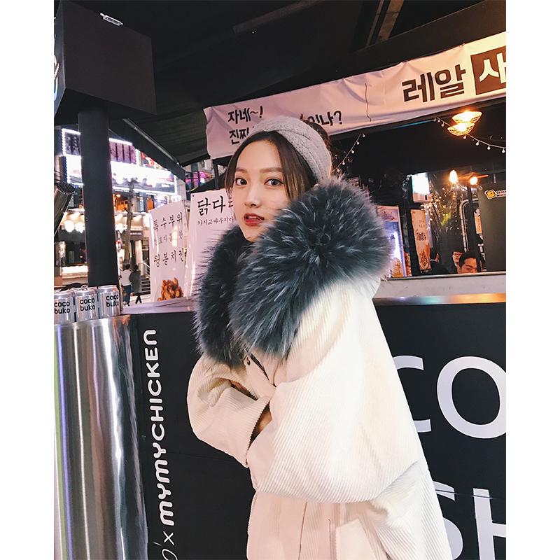 2017冬季新款灯芯绒大毛领连帽棉衣女中长款韩版羽绒棉服宽松外套满299元减5元