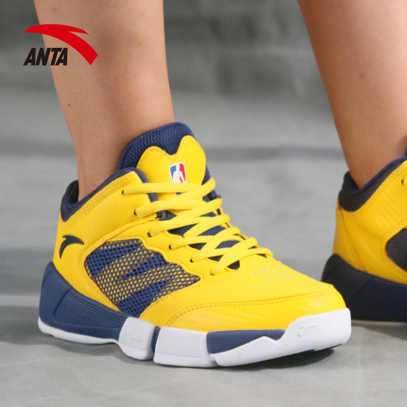 安踏童鞋儿童篮球鞋2018夏季新款男大童运动鞋透气高帮减震男童鞋