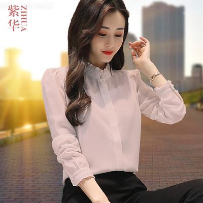 立领雪纺白衬衫女长袖百搭2018秋装新款加绒打底衫上衣韩版衬衣寸