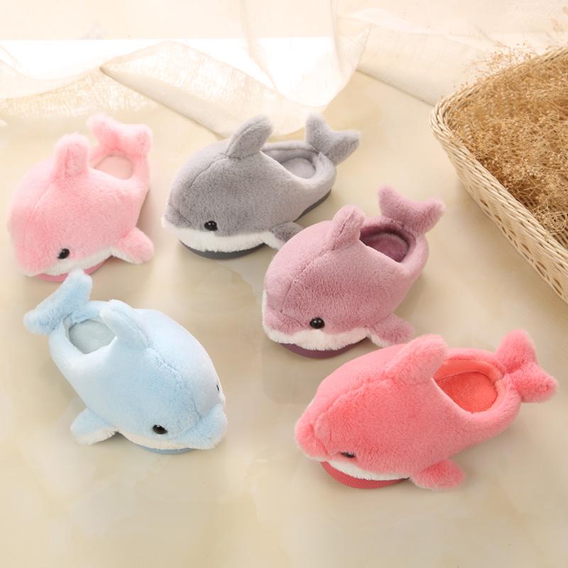 可爱海豚儿童拖鞋男童女童亲子宝宝室内家居鞋冬季新款小孩棉拖鞋