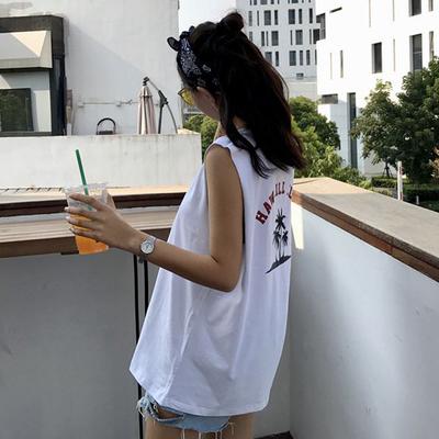 无袖T恤女2018夏季韩版ulzzang宽松bf原宿风chic背心外穿学生上衣