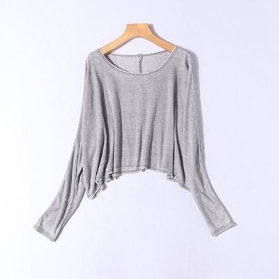H23-4春夏新品女装宽松针织大码超短露脐毛边休闲蝙蝠长袖T恤衫