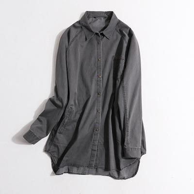 春夏新品女装翻领中长款开衫肩连袖宽松休闲复古做旧衬衫E19-4