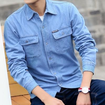 秋春季牛仔衬衫青年男衬衣长袖宽松加大码纯棉工作服纯色薄款短袖