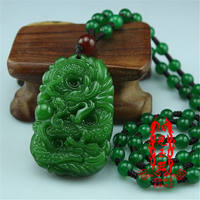 Natural Hetian Jasper Zodiac Dragon Pendant Kaiguang New Pit Jasper Dragon Play Bead Pendant Jade Pendant Necklace