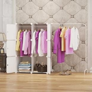 简易衣柜简约现代经济型出租房挂衣服收纳储物柜子挂杆折叠多功能