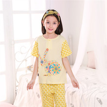 Xuanze Xuanze Spring and Summer Boys'Pure Cotton Low-collar and Flower-filled Thin-skinned Short-sleeved Long Pants Home-style Nightwear Suit