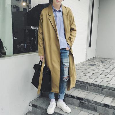 春秋季中长款风衣男过膝超长青年韩版个性外套薄款英伦加长大衣潮