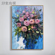 JJ023印象风景法国街景手绘油画简约欧式客厅玄关壁炉有框装饰画