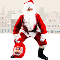 Christmas Santa Claus Dress Up Clothes Men and Women Set Upscale Flocking Show Costume Santa Claus Costume Adult