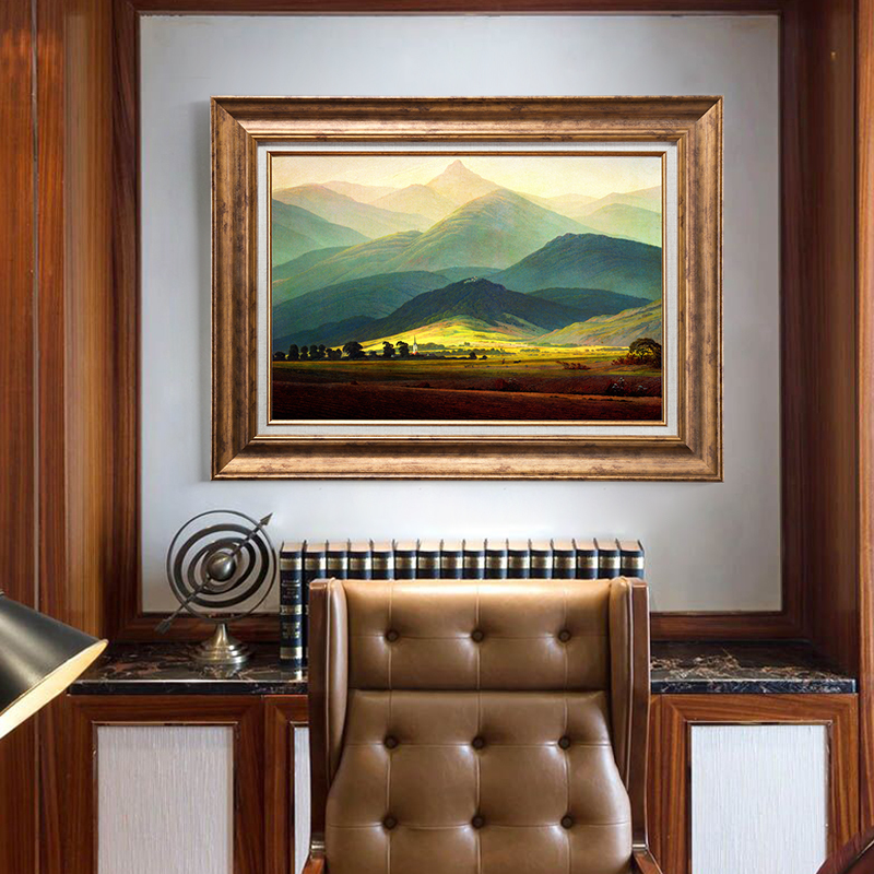 手绘巨人山风景油画