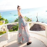 巴厘岛沙滩裙女夏2018新款波西米亚长裙海边度假显瘦雪纺连衣裙仙