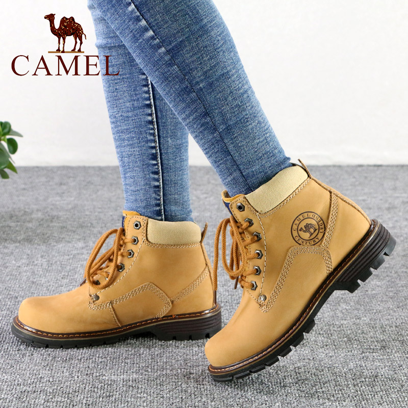 Camel/骆驼女鞋 冬季厚底旅游马丁靴 圆头短筒户外休闲大头靴子潮
