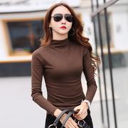 半高领打底衫女秋冬中领长袖t恤修身加厚纯棉紧身上衣咖啡色小衫