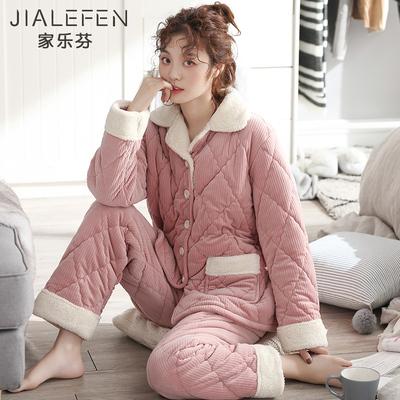 睡衣女士冬天三层加厚夹棉袄珊瑚绒法兰绒加绒保暖秋冬季韩版套装