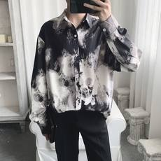 A tea and Agu summer tie-dye shirt men's long-sleeved Korean version of the net red tri-color pattern design shirt