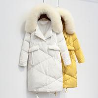 2017冬装新款韩版过膝大毛领羽绒服女中长款加厚宽松连帽茧型外套