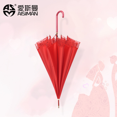 新娘大红色雨伞