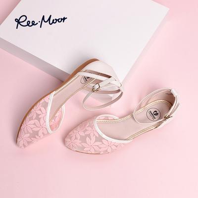 REEMOOR夏季新款镂空花纹凉鞋女鞋一字扣尖头单鞋平底鞋睿慕鞋子
