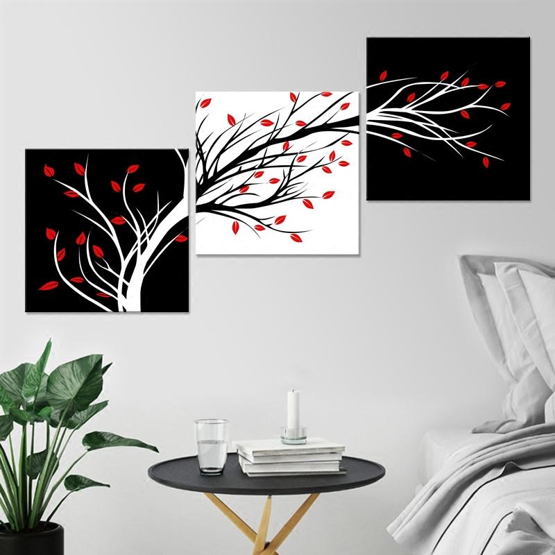 黑白发财树三联画