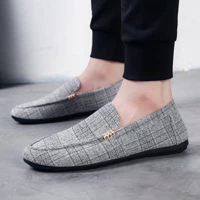 老北京布鞋夏季透气男鞋休闲豆豆鞋男懒人鞋韩版百搭个性帆布鞋男